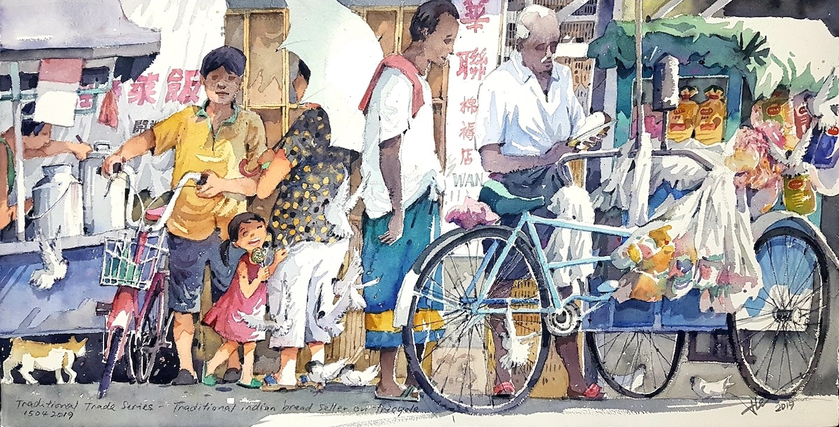 Traditional Indian Bread Seller on Tricycle by Alex Leong