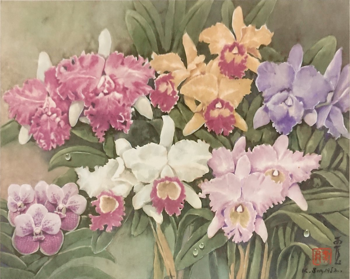 Cattleya and Vanda Orchids 1 (1982) by Khaw Sia