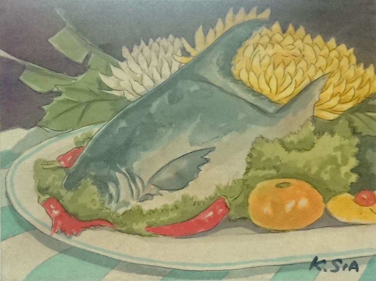 Pomfret with Tomato & Flowers by Khaw Sia