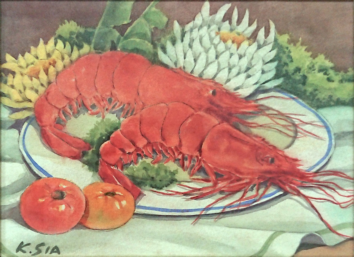 Two Prawns and Flowers on Plate by Khaw Sia